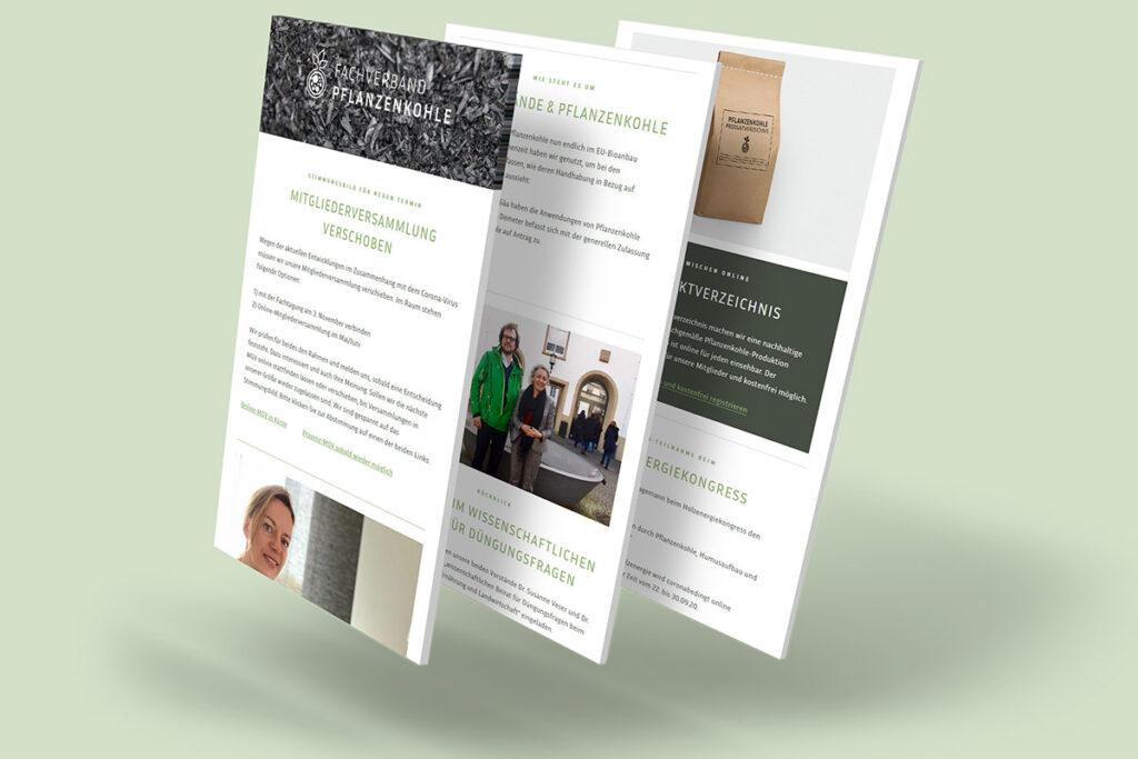Mockup Newslettergestaltung für den Fachverband Pflanzenkohle