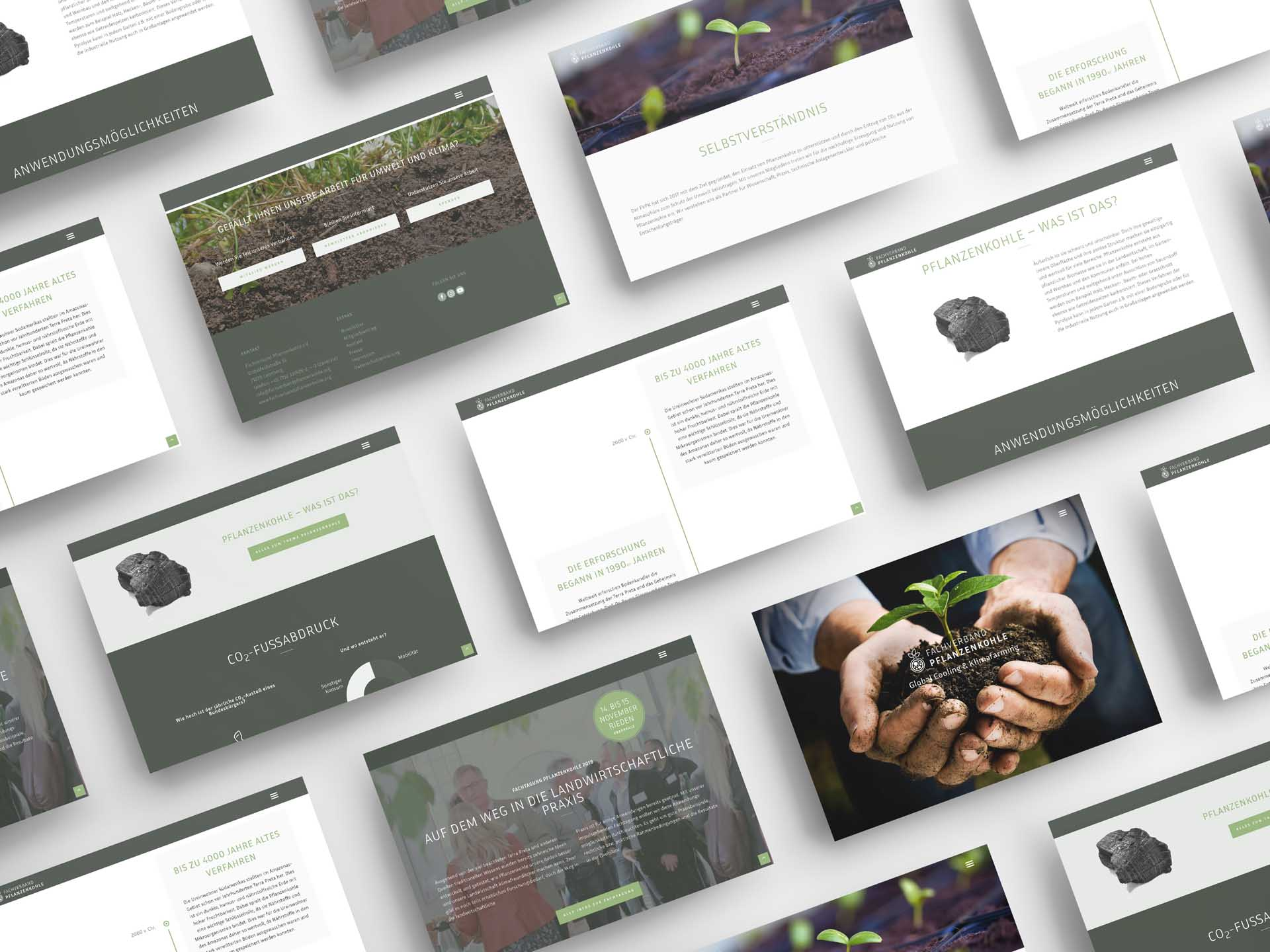 Screenshots Website Fachverband Pflanzenkohle
