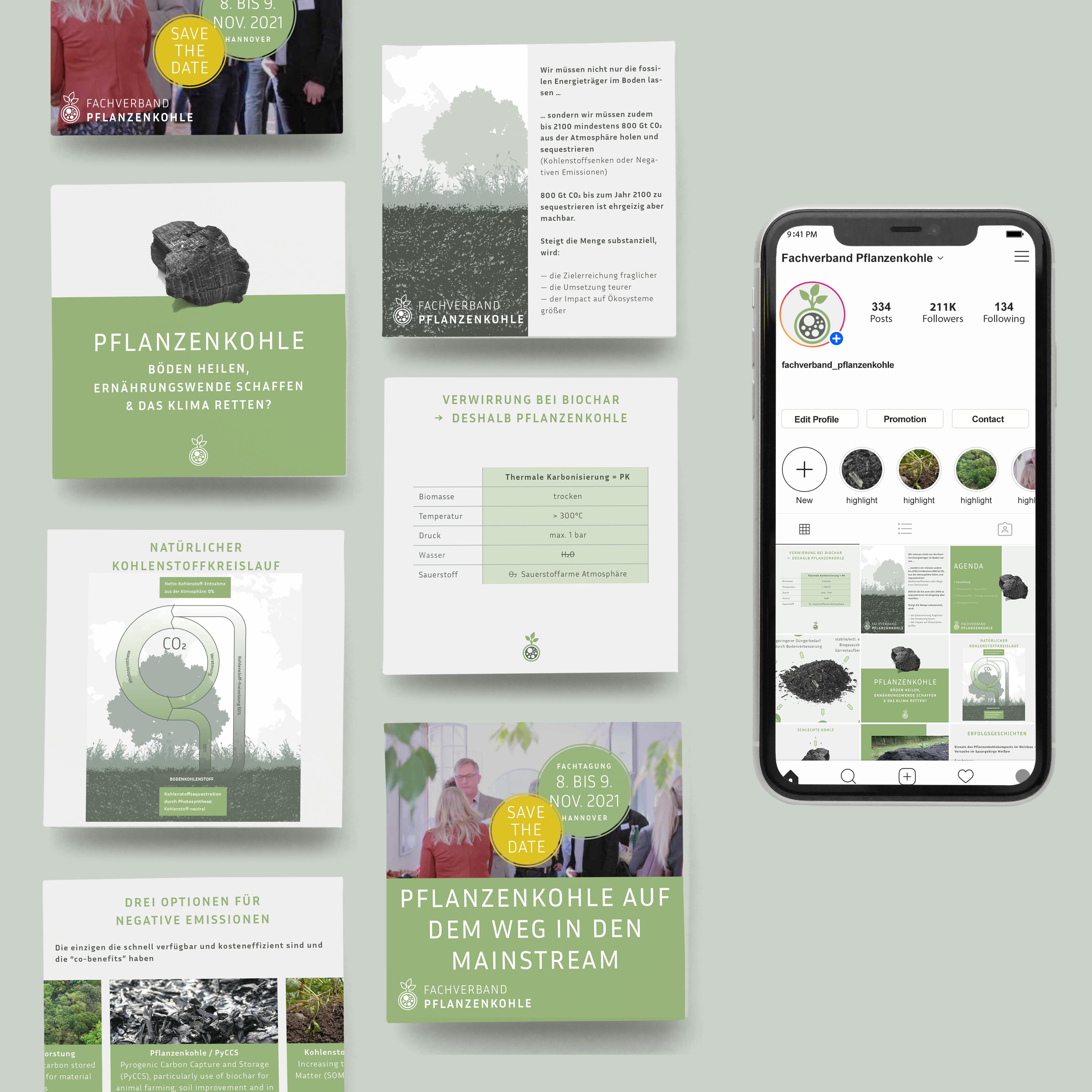 verschiedene Instagram Posts im Design des Fachverbandes Pflanzenkohle
