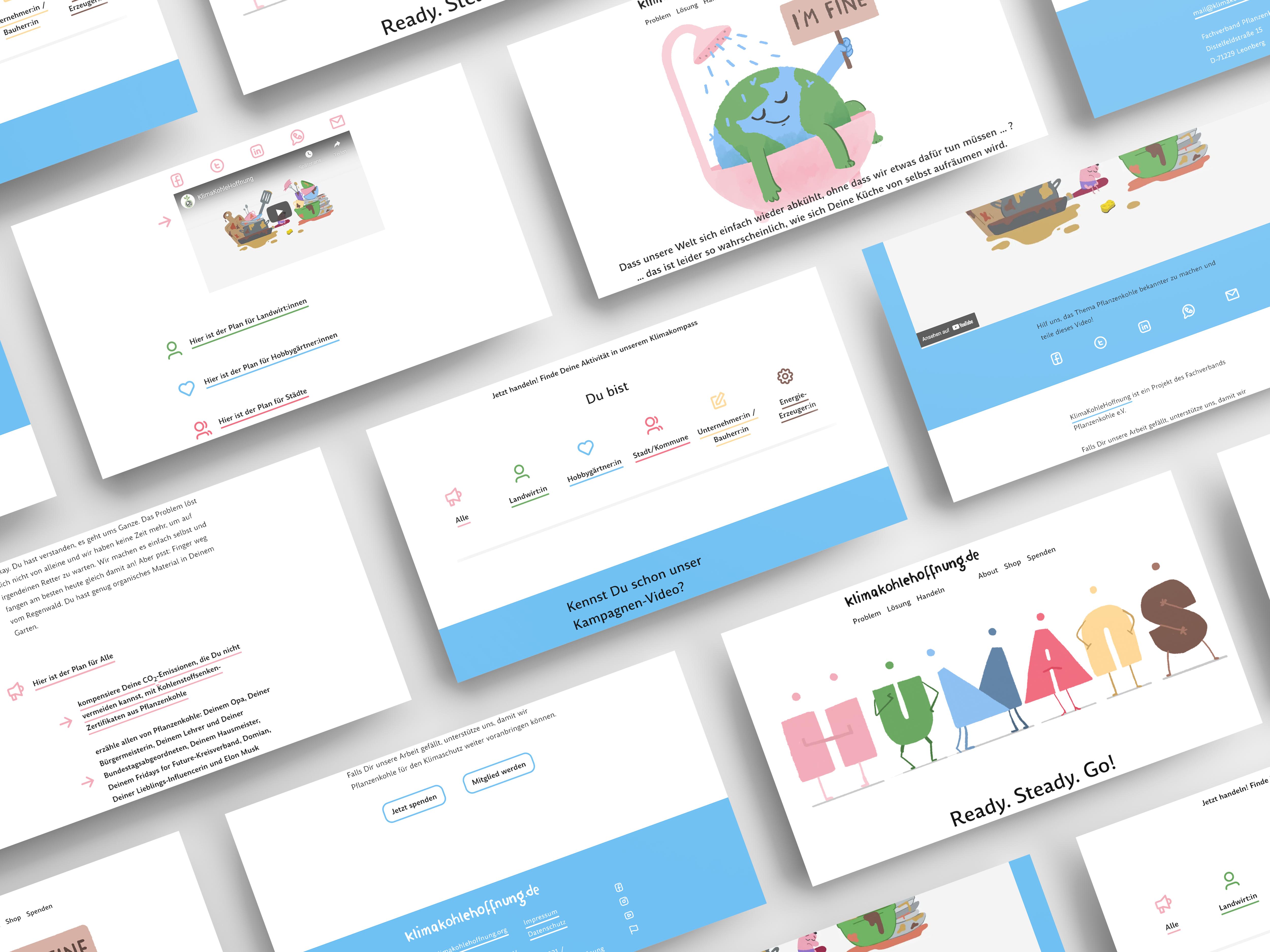 screenshots from webdesign project klimakohlehoffnung.org