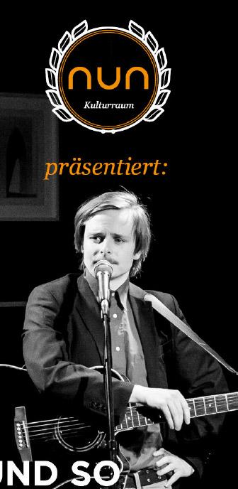 Detail Plakat NUN Kulturraum mit Mann an Gitarre, Logo und Schriftzug